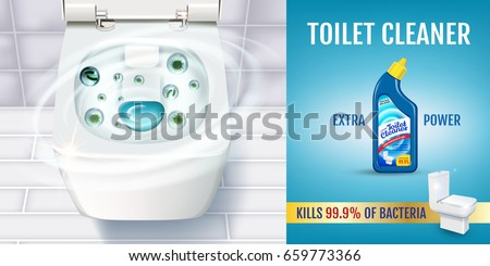 Fresh fragrance toilet cleaner gel ads. Vector realistic Illustration with top view of toilet bowl and disinfectant container. Horizontal banner.