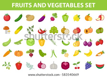 Fresh Fruit and Vegetable icon set, flat, cartoon-style. Berries and herbs isolated on white background. Farm products, vegetarian food. Vector illustration