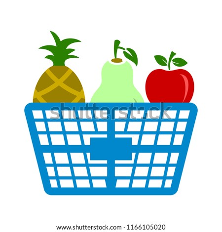fresh fruit basket illustration isolated. food icon - nature sign symbol