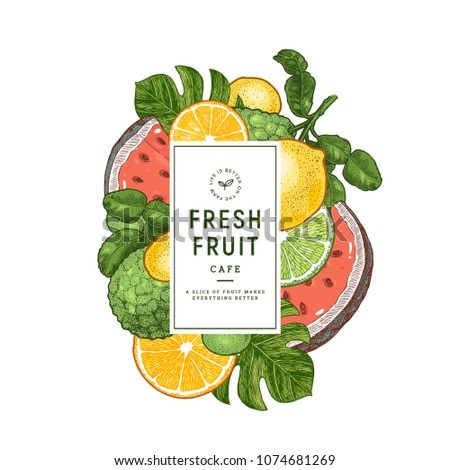 Fresh fruit design template. Lemon, watemelon, orange, bergamot, monstera leaf. Vector illustration #1074681269
