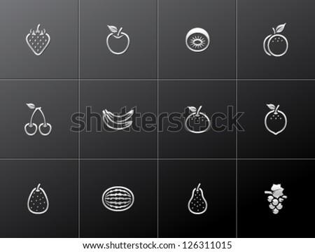 Fresh fruit icons in metallic style