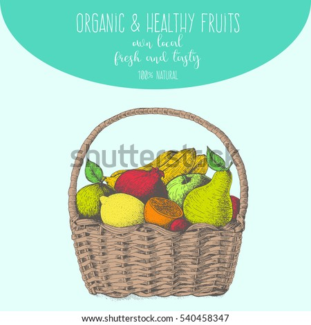 fresh fruit in basket. natural...