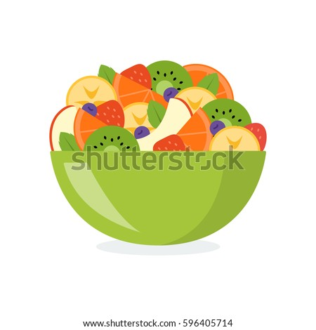Fresh fruit salad in a green bowl isolated on white background. Healthy eating concept. Vector illustration in flat design. Stock photo ©