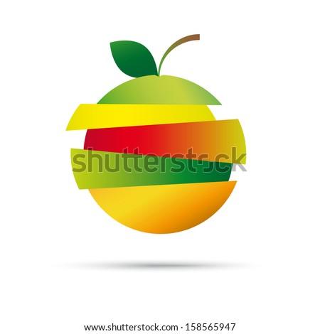 fresh fruit stack vector logo