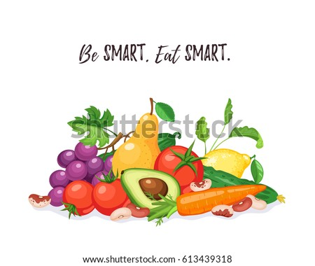 Fresh fruits and vegetables composition isolated on white background. Be smart, eat smart. Healthy lifestyle concept. #613439318