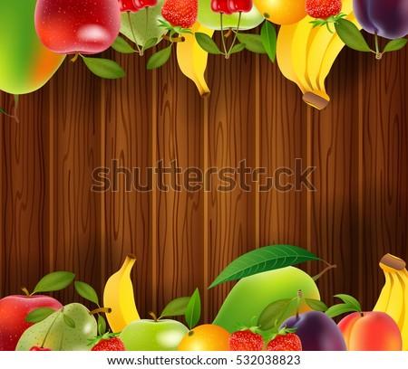 fresh fruits background vector