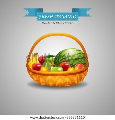 fresh fruits in wicker basket