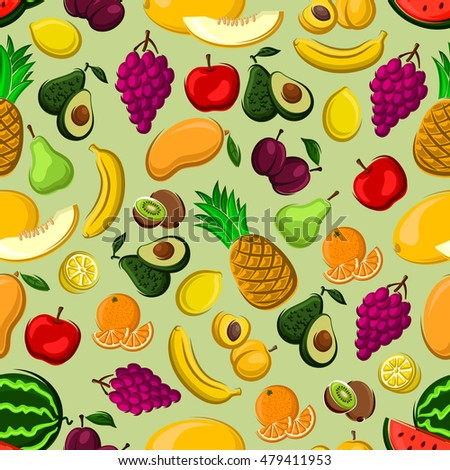 Fresh fruits seamless pattern of orange, lemon, apple, banana, pineapple, peach, grape, plum, mango, pear, watermelon, kiwi, avocado and melon fruits on green background