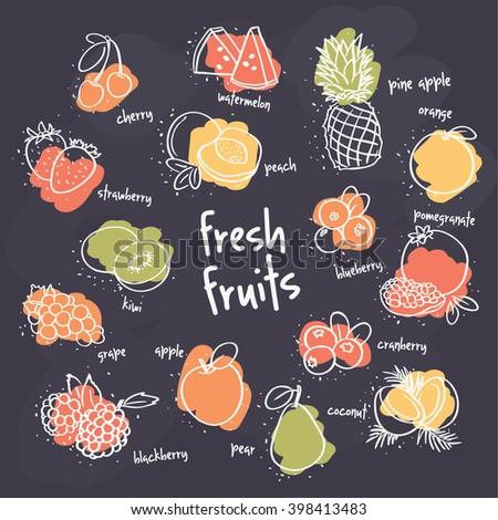 fresh fruits set