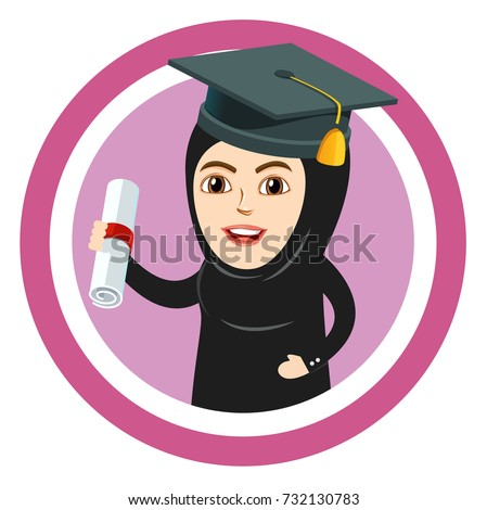 Fresh Graduate female Muslim Arab student holding a Diploma or Degree. Arab Girl or Woman wearing graduation cap. Excited about dream job and bright future.