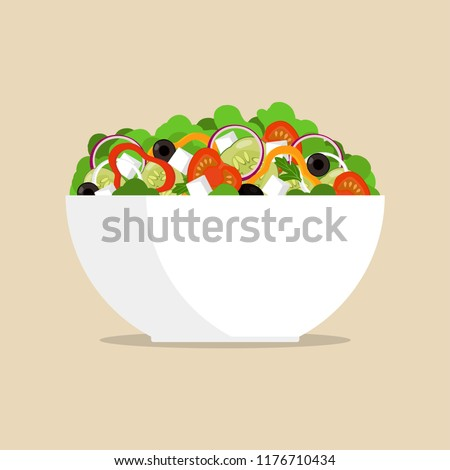 Fresh greek salad in big bowl, side view. Tomato, sweet pepper, onion, greens, cheese, olives, cucumber, mixed in plate Vector flat illustration #1176710434