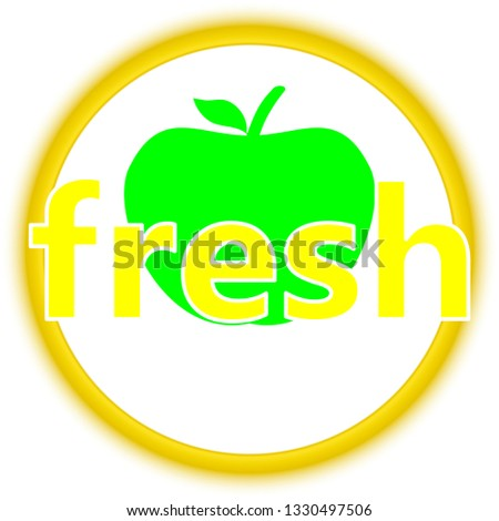 fresh green apple modern slogan for t-shirt and apparels graphic vector print and other uses.logo label badge for organic food, natural product,food market, e-commerce.Vector illustration
