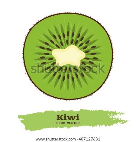 fresh green kiwi fruit in flat