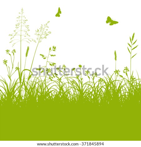 Fresh Green Meadow Landscape with Herbage and Butterflies in Springtime on White Background - Grass, Grassland - Vector Illustration