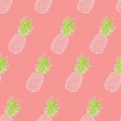 Fresh green Pineapples Vector Repeat Seamless Pattern in white and peachColors. Great for fabric, print, textile, packaging, wallpaper, invitations, giftwrap.