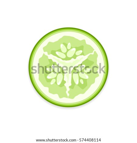 Shutterstock Fresh green vector cucumber slice on white background