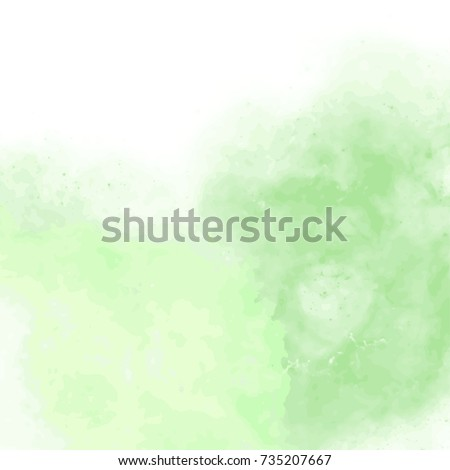 fresh green watercolor surface with splatters on white background, vector illustration