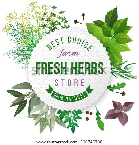 fresh herbs store emblem   easy