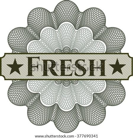 Fresh inside money style emblem or rosette