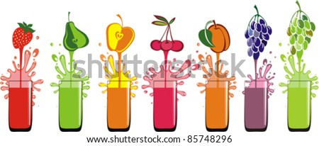 fresh juice pours from fruits in a glass isolated on White background. Vector illustration