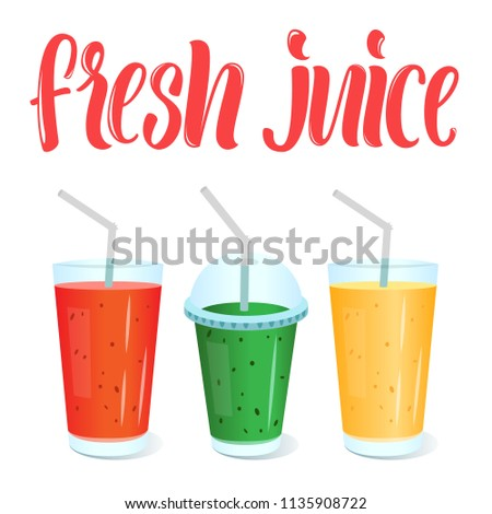 Fresh juices menu template with vector glasses of juice and lettering sign.