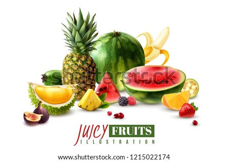 Fresh juicy fruits whole and serving pieces wedges slices realistic composition with watermelon fig pineapple vector illustration