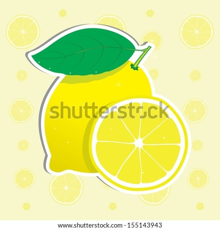 Fresh lemon and lemon slice. Vector illustration.