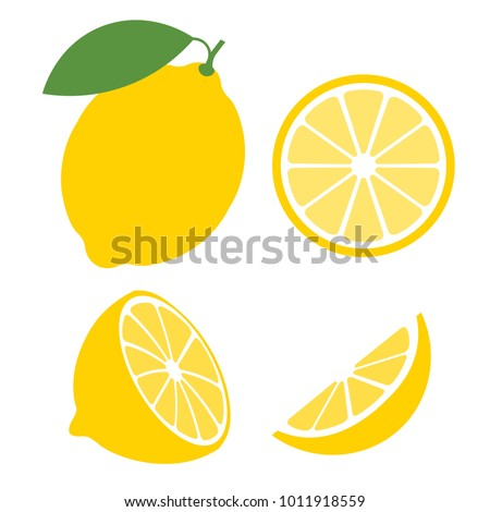 Shutterstock Fresh lemon fruits, collection of vector illustrations