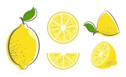 Fresh lemon fruits with leaf. Lemon vector illustration set. Whole, cut in half, sliced on pieces lemons. Citrus collection. Lemon logo or icon.