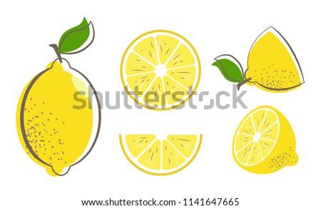 fresh lemon fruits with leaf