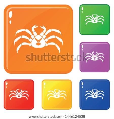 fresh live crab icons set
