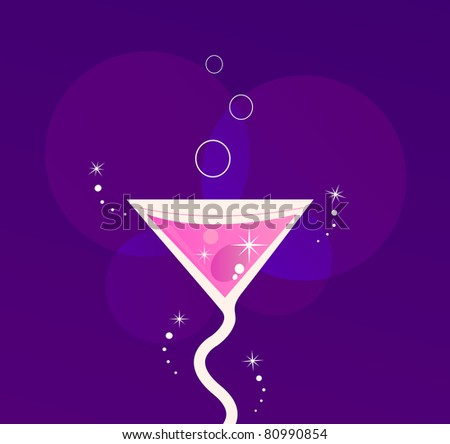 Fresh Martini party cocktail glass ( vector illustration )