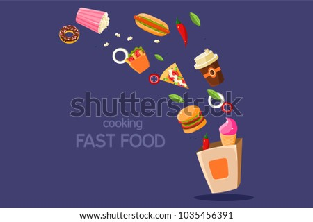 Fresh meal flying into a box, cooking fasr food vector Illustration on a blue background