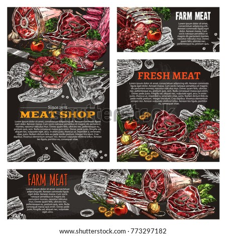 Fresh meat product chalkboard banner of meat shop. Beef steak, pork sirloin, ham and bacon, beef burger, chicken breast fillet and lamb ribs chalk sketch poster for butcher shop design
