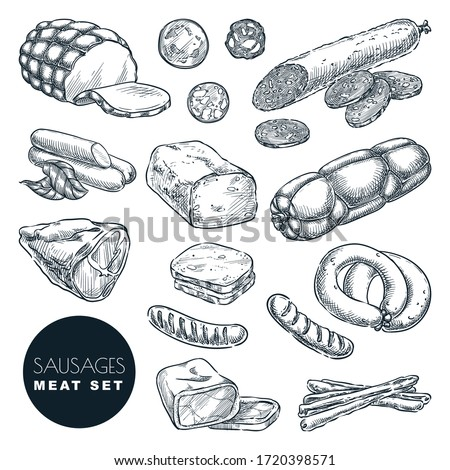 Fresh meat products collection, isolated on white background. Sketch vector illustration. Food isolated design elements. Pieces of salami, turkey ham, sausages, bacon and homemade meatloaf Сток-фото ©