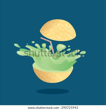 Fresh melon fruit juice splashing out with straw.