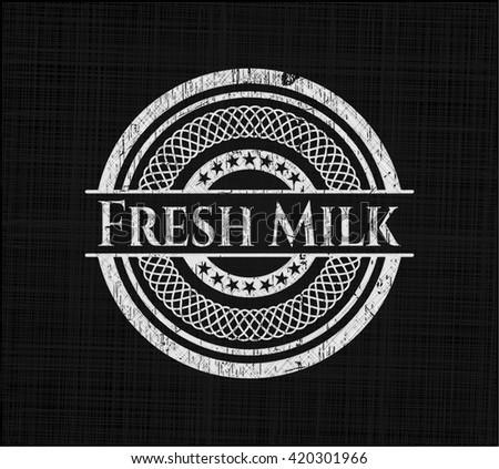 Fresh Milk chalk emblem, retro style, chalk or chalkboard texture