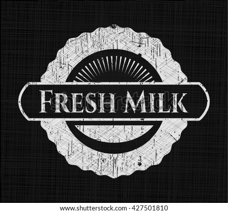 Fresh Milk chalkboard emblem on black board