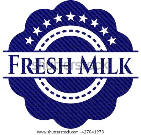 Fresh Milk emblem with denim high quality background