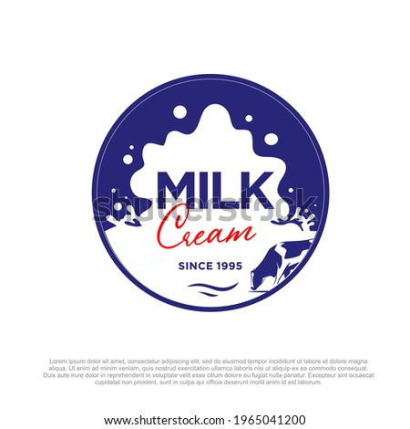 Fresh milk logo template. Fresh milk cream logo vector design. Cow and milk circle logo design. Fresh Milk store logo design template. cream shop branding.