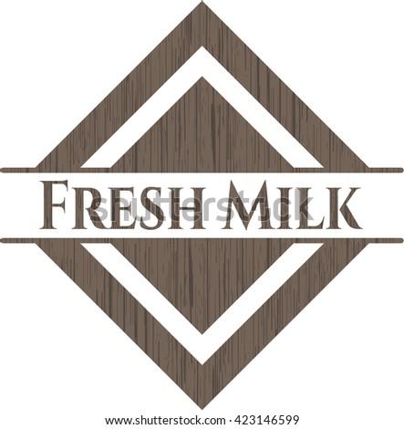 Fresh Milk retro style wooden emblem