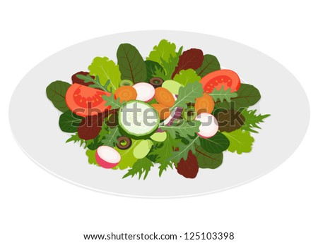 Fresh mixed salad with sliced vegetables in dish, isolated on white background