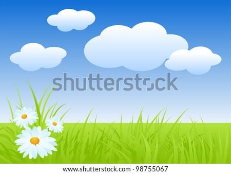 Fresh nature landscape in spring. Vector illustration. - stock vector