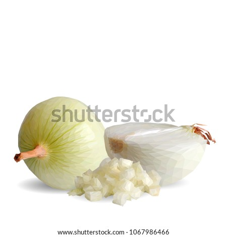 Fresh, nutritious, tasty onion. Beautiful onion. Vector illustration. Vegetables ingredients in triangulation technique. Onion low poly.