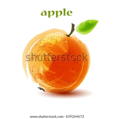 Stock Photo Fresh orange apple on white background. Vector illustration,