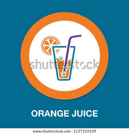 fresh orange juice glass, cocktail juice illustration isolated - fresh drink sign symbol