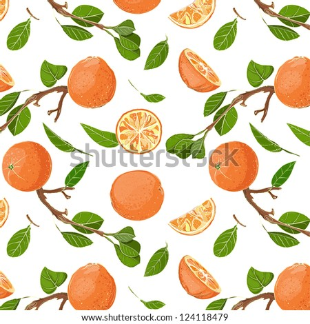 Fresh Oranges and Leaves Seamless Pattern. EPS8 illustration. Use any background color. No effects.