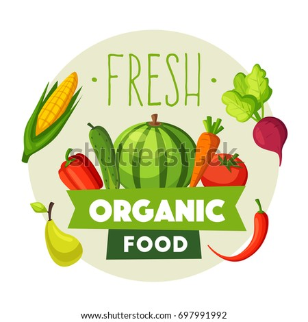 Fresh organic food. Eco vegetables and fruits. Cartoon vector illustration.