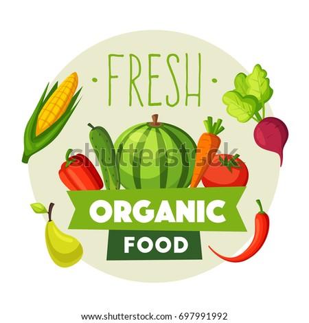 Fresh organic food. Eco vegetables and fruits. Cartoon vector illustration.
