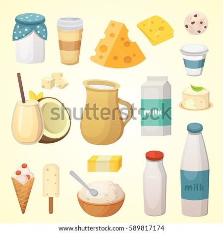 Fresh organic milk products set with cheese, butter, coffee, sour cream and ice cream